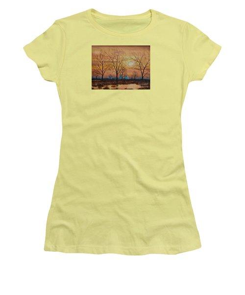 Patomac River Sunset Women's T-Shirt (Junior Cut) by AnnaJo Vahle