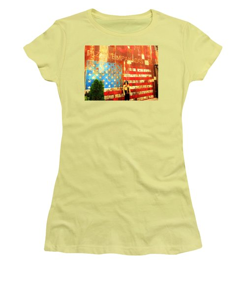 Patriotic Empanadas Wall In New York  Women's T-Shirt (Junior Cut) by Funkpix Photo Hunter