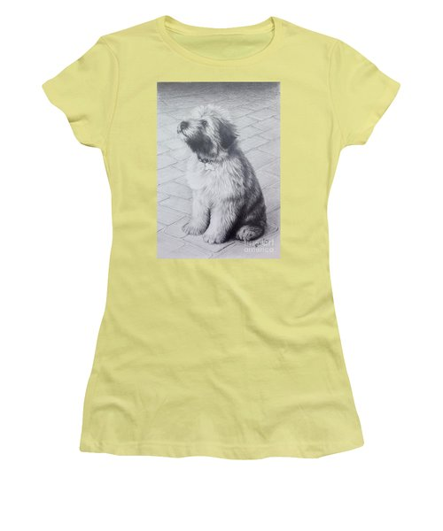 Women's T-Shirt (Junior Cut) featuring the drawing Patsy's Puppy by Mike Ivey
