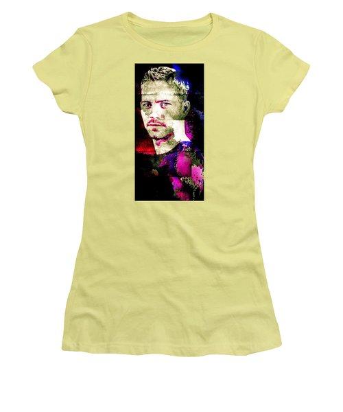Women's T-Shirt (Junior Cut) featuring the mixed media Paul Walker by Svelby Art