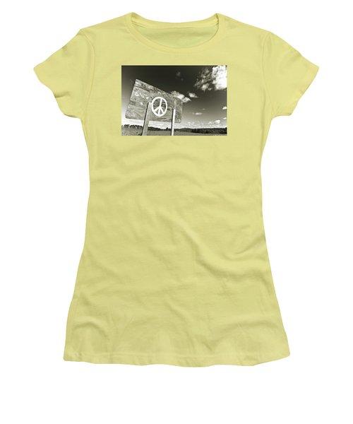 Peace Sepia Women's T-Shirt (Junior Cut)
