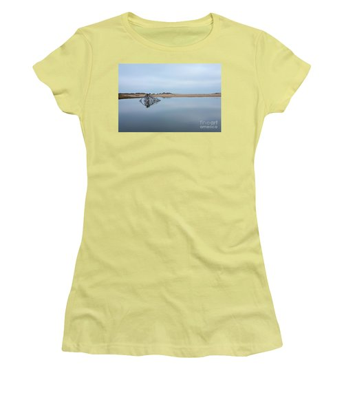 Women's T-Shirt (Junior Cut) featuring the photograph Peaceful Tidepool On The Outer Banks by Dan Carmichael