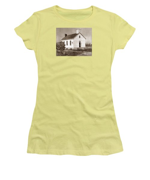 Peach Grove School Sepia Women's T-Shirt (Junior Cut) by LeAnne Sowa