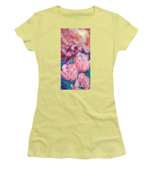 Peachypink Tulips Women's T-Shirt (Junior Cut) by Sigrid Tune
