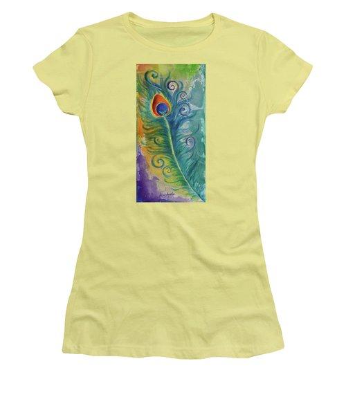 Peacock Feather Mural Women's T-Shirt (Junior Cut) by Agata Lindquist