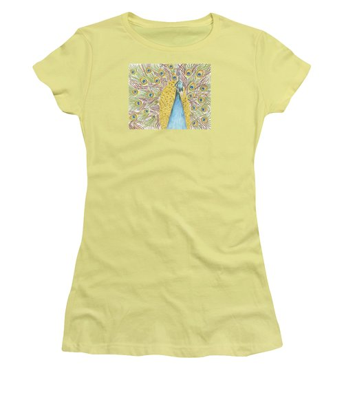 Women's T-Shirt (Junior Cut) featuring the drawing Peacock One by Arlene Crafton