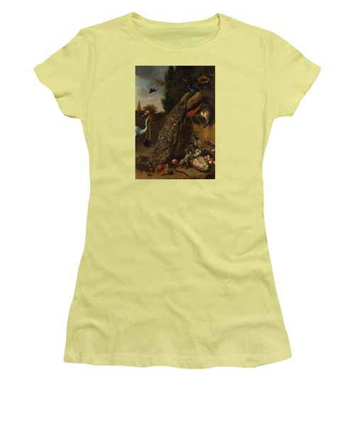 Women's T-Shirt (Junior Cut) featuring the painting Peacocks by Melchior d'Hondecoeter