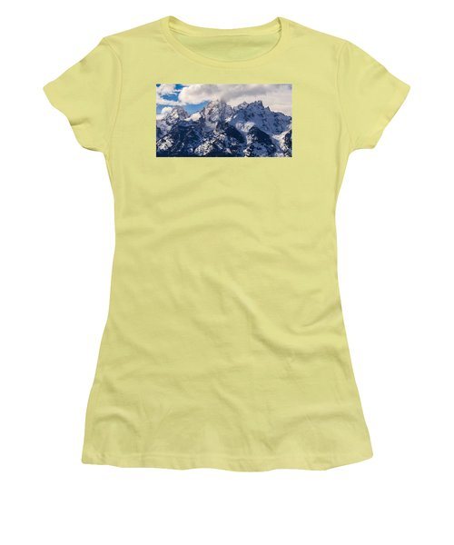Women's T-Shirt (Junior Cut) featuring the photograph Peaks Of The Tetons by Serge Skiba