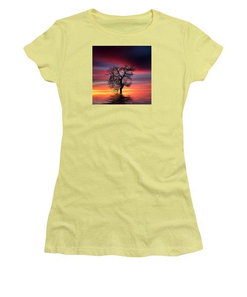 Pear On Lake Women's T-Shirt (Junior Cut) by Bess Hamiti