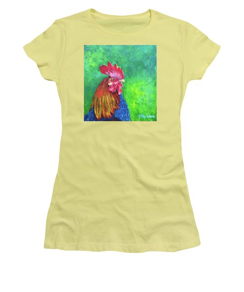 Morning Rooster Women's T-Shirt (Junior Cut) by T Fry-Green