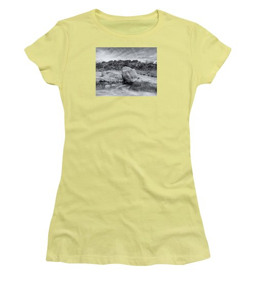 Pedernales River Falls In Black And White - Texas Hill Country Women's T-Shirt (Athletic Fit)