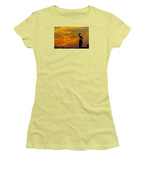 Pelican At Silver Lake Sunset Ocracoke Island Women's T-Shirt (Junior Cut) by Greg Reed
