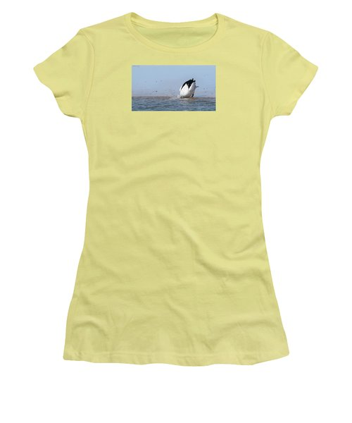 Women's T-Shirt (Junior Cut) featuring the photograph Pelican Fishing 001 by Kevin Chippindall