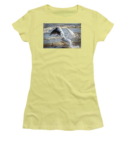 Pelican Jump Women's T-Shirt (Junior Cut) by Ray Congrove