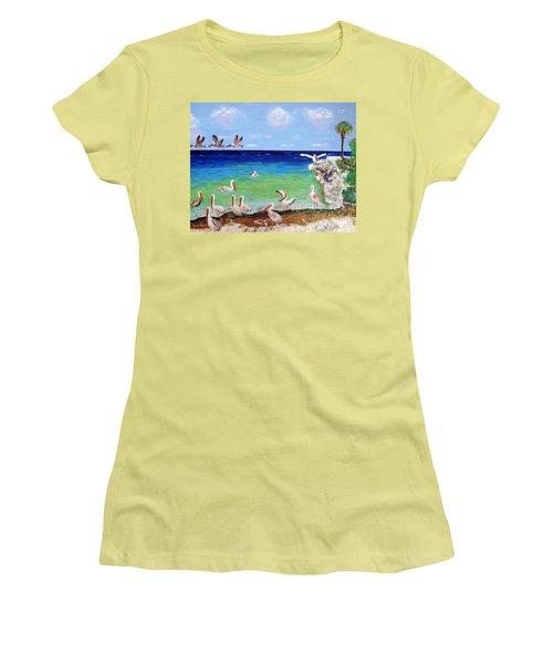 Pelicans Women's T-Shirt (Junior Cut) by Vicky Tarcau