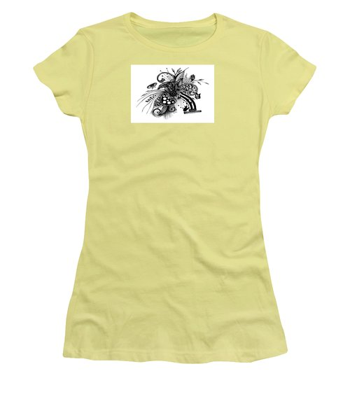 Pen And Ink Drawing Rose Women's T-Shirt (Junior Cut) by Saribelle Rodriguez
