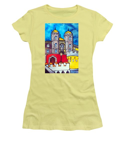 Women's T-Shirt (Athletic Fit) featuring the painting Pena Palace In Sintra Portugal  by Dora Hathazi Mendes