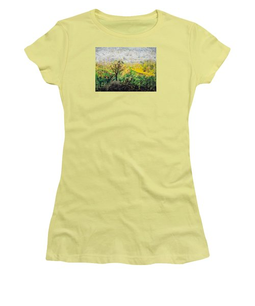 Women's T-Shirt (Junior Cut) featuring the painting Peneplain by Ron Richard Baviello