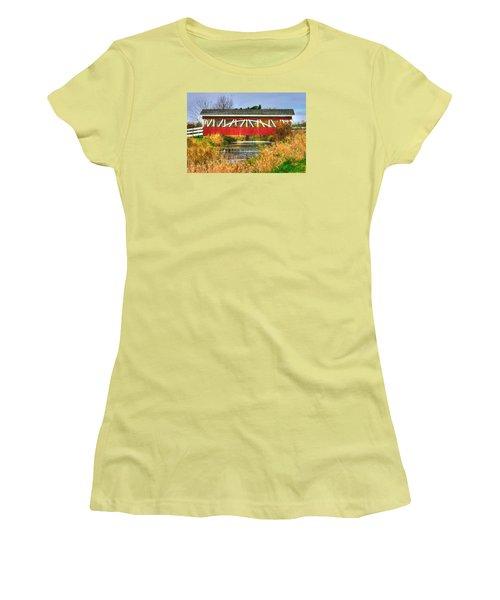 Pennsylvania Country Roads - Oregon Dairy Covered Bridge Over Shirks Run - Lancaster County Women's T-Shirt (Junior Cut) by Michael Mazaika