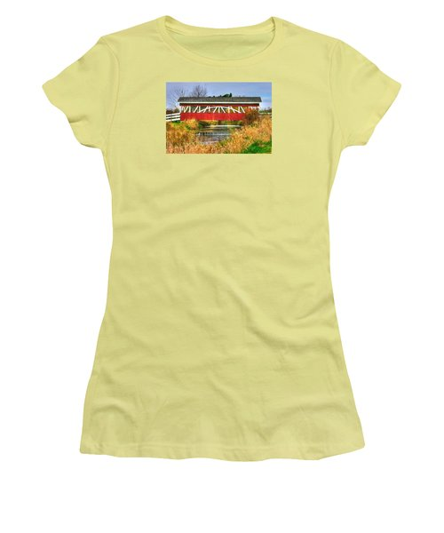 Pennsylvania Country Roads - Oregon Dairy Covered Bridge Over Shirks Run - Lancaster County Women's T-Shirt (Athletic Fit)