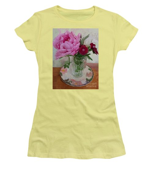 Peonies With Sweet Williams Women's T-Shirt (Junior Cut) by Alexis Rotella