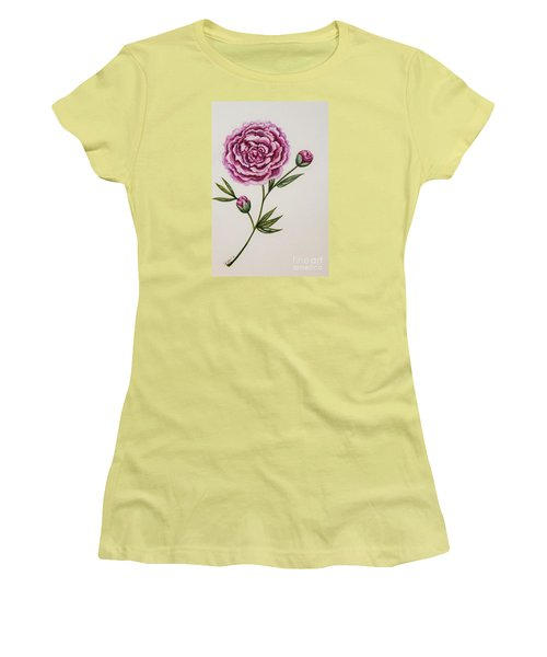 Women's T-Shirt (Junior Cut) featuring the painting Peony Botanical by Elizabeth Robinette Tyndall