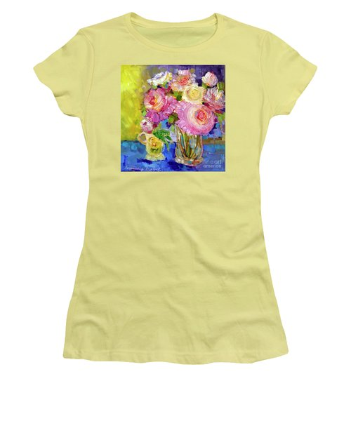 Women's T-Shirt (Junior Cut) featuring the painting Peony Love by Rosemary Aubut