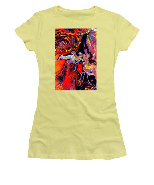 People - Abstract Colorful Mixed Media Painting Women's T-Shirt (Junior Cut) by Modern Art Prints