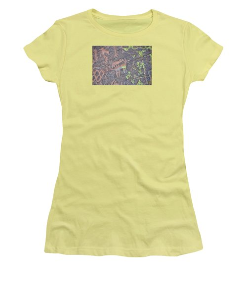 Petroglyph Wolf Attack Women's T-Shirt (Athletic Fit)
