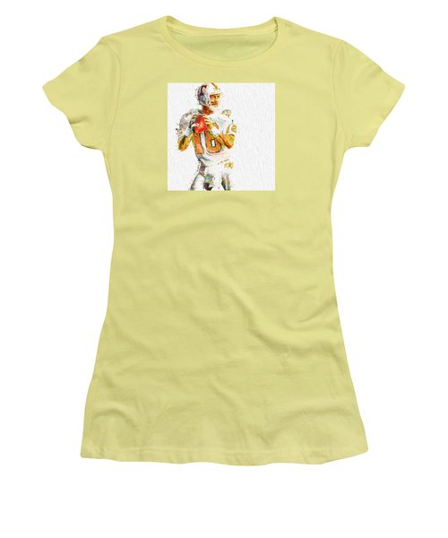 Peyton Manning Nfl Football Painting Tv Women's T-Shirt (Junior Cut) by David Haskett