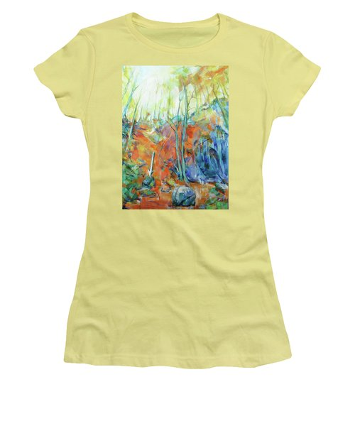 Women's T-Shirt (Junior Cut) featuring the painting Pfeil - Arrow by Koro Arandia
