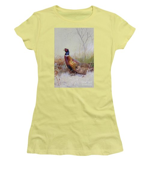 Pheasants In The Snow Women's T-Shirt (Junior Cut) by Archibald Thorburn
