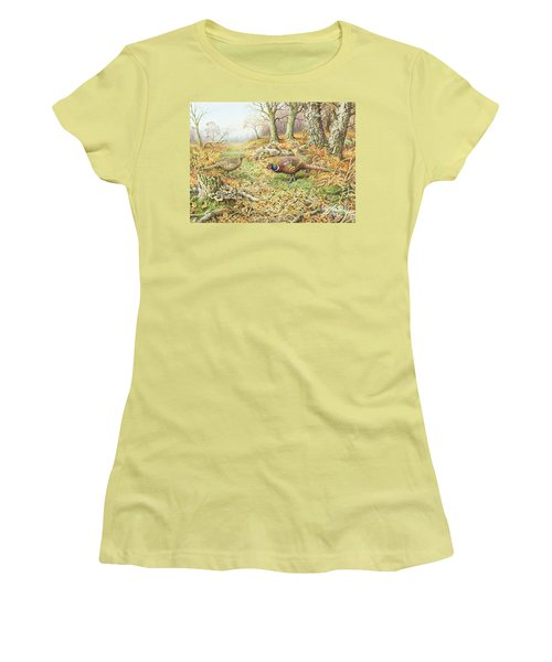 Pheasants With Blue Tits Women's T-Shirt (Junior Cut) by Carl Donner