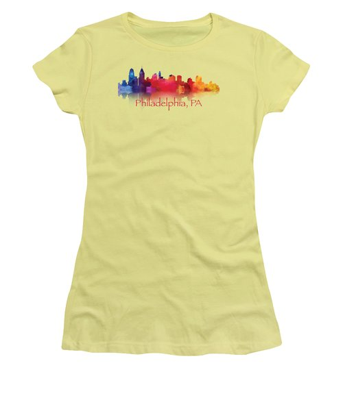 philadelphia PA Skyline TShirts and Apparal Women's T-Shirt (Junior Cut) by Loretta Luglio