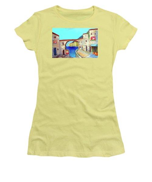 Piazza Del La Artista Women's T-Shirt (Junior Cut) by Larry Cirigliano