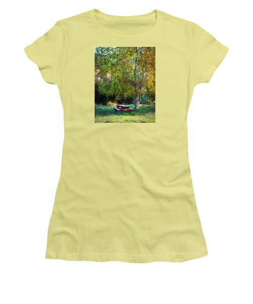 Women's T-Shirt (Junior Cut) featuring the photograph Picnic Table by Timothy Bulone