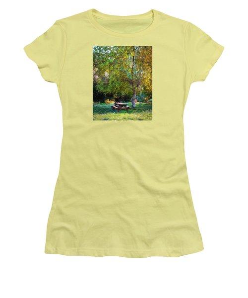 Picnic Table Women's T-Shirt (Junior Cut) by Timothy Bulone