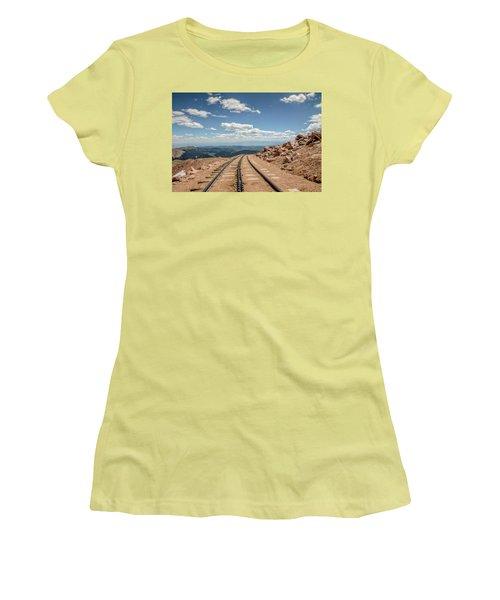 Pikes Peak Cog Railway Track At 14,110 Feet Women's T-Shirt (Junior Cut) by Peter Ciro