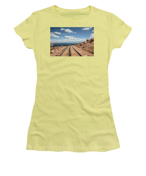 Pikes Peak Cog Railway Track At 14,110 Feet Women's T-Shirt (Athletic Fit)