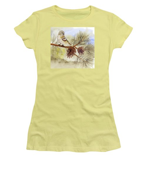 Pine Siskin Among The Pinecones Women's T-Shirt (Athletic Fit)