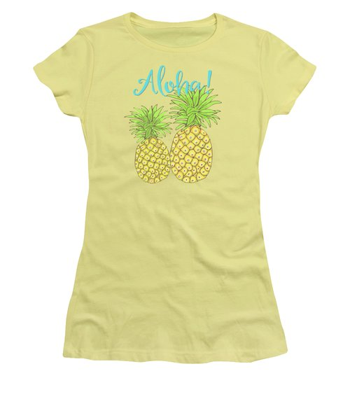Pineapple Aloha Tropical Fruit Of Welcome Hawaii Women's T-Shirt (Junior Cut) by Tina Lavoie