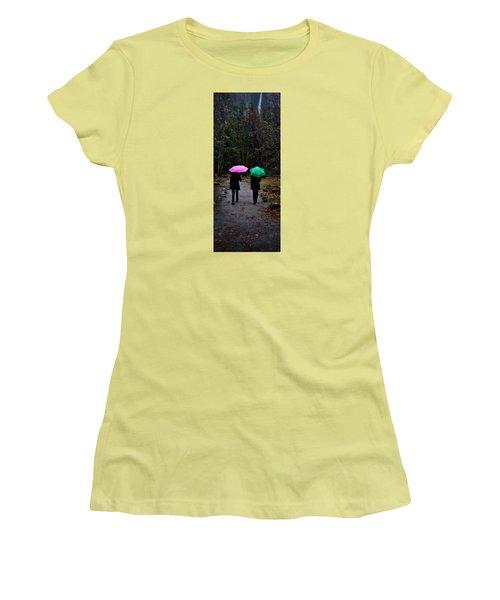 Pink And Green Women's T-Shirt (Junior Cut) by Josephine Buschman