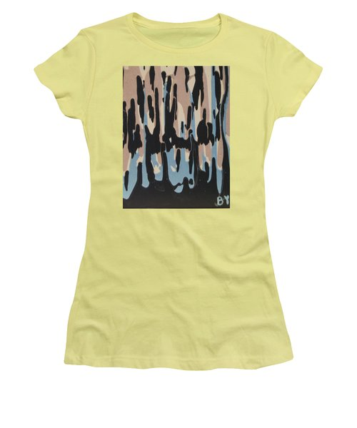 Pink Blue And Brown Drips Women's T-Shirt (Junior Cut) by Barbara Yearty