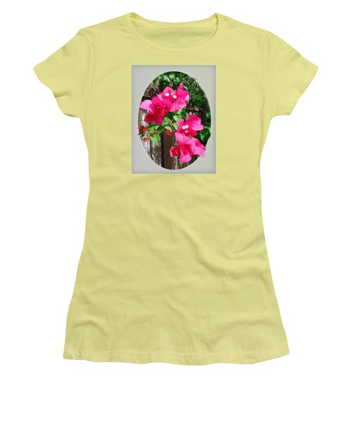 Women's T-Shirt (Junior Cut) featuring the photograph Pink Bougainvillea by Ginny Schmidt