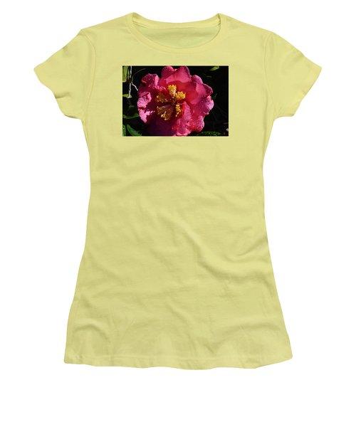 Pink Camillia With Raindrops Women's T-Shirt (Junior Cut) by Warren Thompson