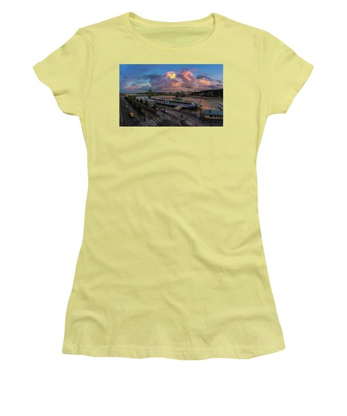 Pink Clouds Above The Danube, Budapest Women's T-Shirt (Athletic Fit)