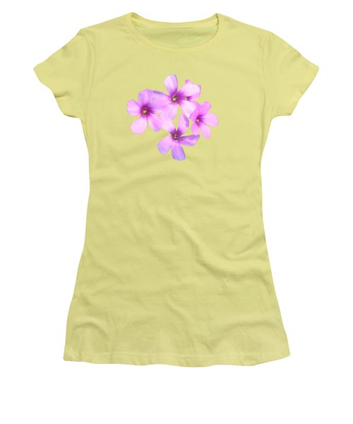 Pink Cutout Flowers Women's T-Shirt (Junior Cut) by Linda Phelps