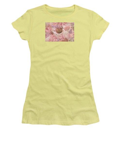 Pink Floral Montage Women's T-Shirt (Junior Cut) by Bonnie Bruno