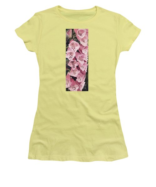 Women's T-Shirt (Athletic Fit) featuring the painting Pink Foxglove by Laurie Rohner