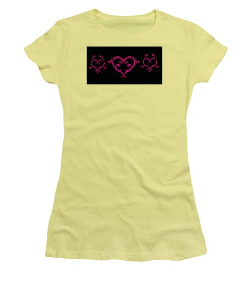 Pink Hearts  Women's T-Shirt (Athletic Fit)